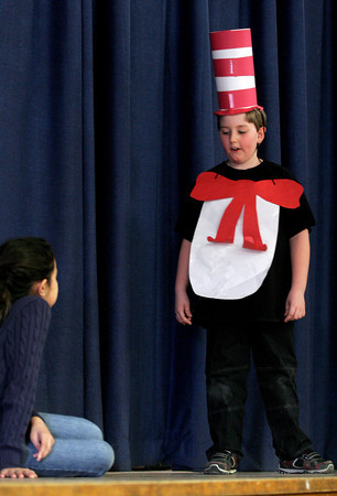 Gloucester: Steven Strong plays the Cat in the Hat as Shannon McHenry's 3rd grade class perform a tribute to Dr. Seuss to celebrate the closing of Read Across America Month at Veterans Memorial Elementary School. Photo by Kate Glass/Gloucester Daily Times