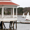 Manchester: Members of the Manchester Essex sailing team head out to practice past Tuck's Point yesterday afternoon. Photo by Kate Glass/Gloucester Daily Times