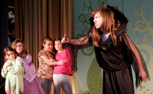 "Gloucester: Belle Muller, who plays the Evil Queen in Beeman Memorial Elementary School's production of ""Doo Wop Wed Widing Hood"" rehearses a scene from the show, which will run April 7-8 at 7pm. Tickets are $5. Photo by Kate Glass/Gloucester Daily Times"