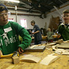Essex: Alden Glousky of Hamilton and Joey Virgilio of Gloucester learn basic woodworking skills at the Essex Shipbuilding Museum during their April vacation program, which runs through Thursday. Photo by Kate Glass/Gloucester Daily Times