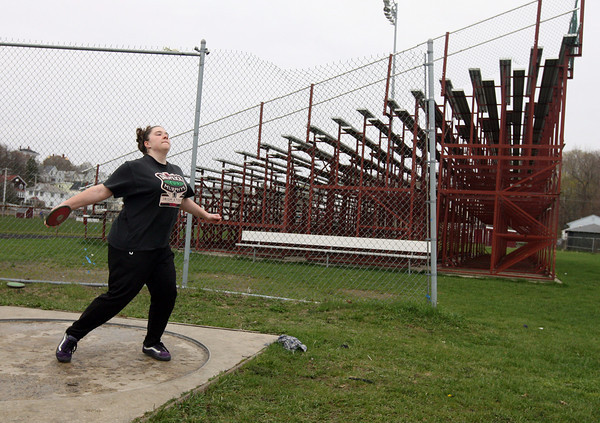 Gloucester: Gloucester sophomore Liz McCormack works on her discus technique during practice yesterday. Photo by Kate Glass/Gloucester Daily Times