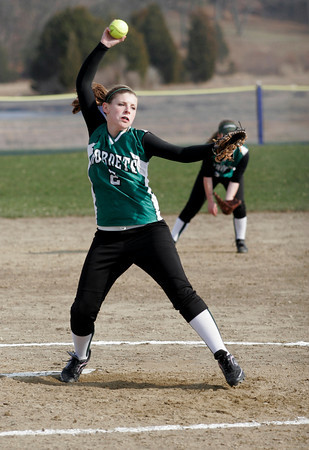 Essex: Manchester Essex's Heather Burgess pitched for the Hornets during their game against Georgetown yesterday. The Hornets lost 4-1. Photo by Kate Glass/Gloucester Daily Times