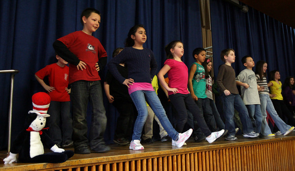 Gloucester: Students in Shannon McHenry's 3rd grade class perform a tribute to Dr. Seuss to celebrate the closing of Read Across America Month at Veterans Memorial Elementary School. Photo by Kate Glass/Gloucester Daily Times