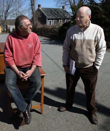 Bob Coviello of Main Street Antiques and Vincent Caravella of All Prints and Maps voice their frustrations with the effects the Causeway construction project has had on downtown businesses, but say they are looking forward to the end result. Photo by Kate Glass/Gloucester Daily Times