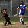 Rockport first baseman Kendra Adams falls into a split as she reaches for the ball during their game against Georgetown yesterday. Photo by Kate Glass/Gloucester Daily Times