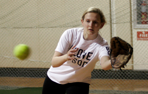 Rockport: Amanda Chalmers reaches for the ball during Rockport softball practice. Photo by Kate Glass/Gloucester Daily Times