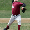 Gloucester: Rockport's Derick MacDowell throws from the mound as Gloucester and Rockport scrimmage at Evans Field yesterday. Photo by Kate Glass/Gloucester Daily Times