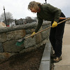 Gloucester: Kate Wiggin of KW Landscapes removes debris from the rose beds surrounding the Fishermen's Wives Memorial after trimming the roses yesterday. Wiggin has been maintaining the garden since the statue was erected in 2001. Photo by Kate Glass/Gloucester Daily Times