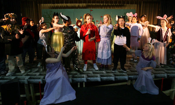 "Gloucester: The cast of Beeman Memorial Elementary School's play, ""Doo Wop Wed Widing Hood"" point to Kate Bevins, who plays Red Riding Hood in the show, which will run April 7-8 at 7pm. Tickets are $5. Photo by Kate Glass/Gloucester Daily Times"