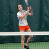 Manchester: Eliza Rohner, captain of the Manchester Essex girls tennis team, warms up during practice at the Manchester Athletic Club. Photo by Kate Glass/Gloucester Daily Times