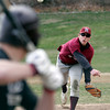 Gloucester: Rockport senior Keady Segel pitches as Gloucester and Rockport scrimmage at Evans Field yesterday. It is Keady's first season playing baseball. Photo by Kate Glass/Gloucester Daily Times