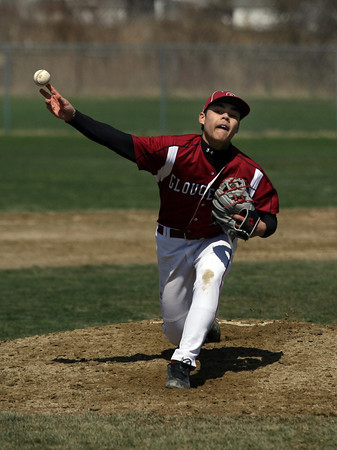 Gloucester: Gloucester pitcher Matt Catarino threw 7 innings of shut-out baseball during the Fishermen's 11-0 win over Marblehead at Nate Ross Field yesterday morning. Photo by Kate Glass/Gloucester Daily Times