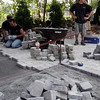 Gloucester: BENCO Landscapers install a stone patio at the Marshall home in Gloucester during filming of Indoors Out. Photo by Kate Glass/Gloucester Daily Times Tuesday, August 4, 2009