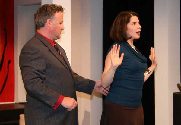 "Gloucester: Robert Pemberton and Anne Gottlieb rehearse a scene for the Gloucester Stage Company's ""The Goat or, Who is Sylvia?"" Thursday afternoon. The play debuted Thursday night and is running until August 23. <br /> Silvie Lockerova/Gloucester daily Times"