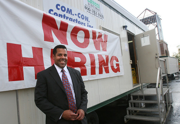 Gloucester: Mike Meuse of Market Basket will be at their Gloucester Crossing location from 9-4 this week. Sixty people applied for positions yesterday. Photo by Kate Glass/Gloucester Daily Times Monday, August 24, 2009