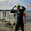 Gloucester: Ethan Saulnier of Salem is the first to complete the 31st annual Clean Harbor Swim at Niles Beach in Gloucester on Saturday morning. Photo by Mary Muckenhoupt/Gloucester Daily Times