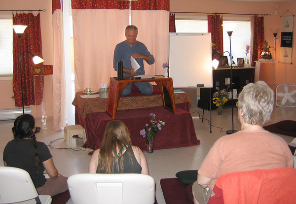 David White, a visiting teacher at the Vajramudra Center in Rockport, begins lessons on Tibetan Buddhism on a recent Saturday afternoon. Photo by Gail McCarthy/Gloucester Daily Times