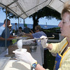 Rockport: Anne Lewis serves Clam Chowder at the Lobsterfest on Saturday morning.<br /> Silvie Lockerova/Gloucester Daily Times