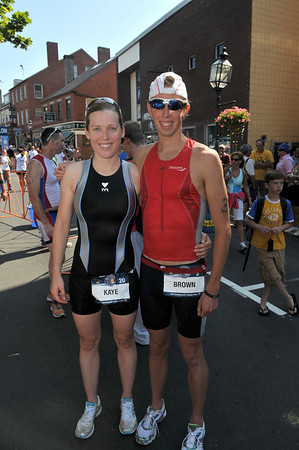 Alicia Kaye of Maynard and friend and former roommate Ethan Brown of Lowell pose for a photo after winning the 1st Gloucester Triathlon held Sunday morning. Photo by Desi Smith/Gloucester Daily Times