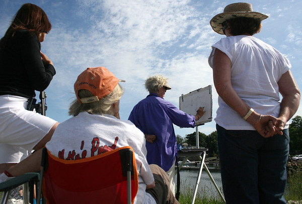 Gloucester: Studens join water color class of Carole Loiacono from Rockort Art Association at Rocky Neck in Gloucester on Thursday morning.<br /> Silvie Lockerova/Gloucester Daily Times