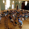 Gloucester: The Cape Ann Community Band, directed by David Benjamin, rehearses at the American Legion Hall for their upcoming tribute concert to longtime Gloucester High School Band Director Robert Puff. The concert will take place on Saturday at the Antonio Gentile Bandstand in Stage Fort Park at 7 pm. Photo by Kate Glass/Gloucester Daily Times