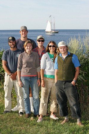 Rockort: Rockport's Carolyn Seavey, second from right, stands with some of her crew memebers from the Virginia, a schooner docked off Rockport as seen behind them from Old Garden Beach. From left, Ryan Graham, Will Smith, Jasmine McCracken, Aaron Sanders, Seavey and Nate Killops. Mary Muckenhoupt/Gloucester Daily Times