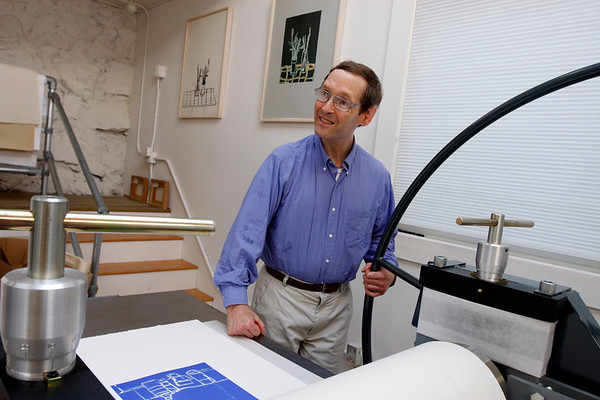 "Geoffrey Bayliss celebrates the exhibition ""Transformation: Drawings into Prints"" at his East Gloucester Studio Saturday from 1-6 p.m. Kate Glass/Gloucester Daily Times"