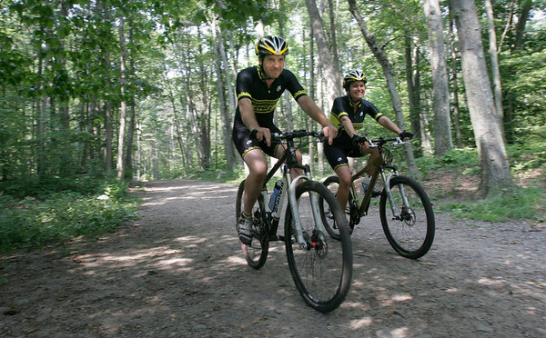 Gloucester: Coley Bryan, left, and Heidi Wakeman will be riding in the 24 Hours of Great Glen Mountain Bike Race at Mount Washington this weekend. Photo by Kate Glass/Gloucester Daily Times