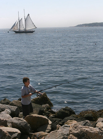 Gloucester: Chris Cassettari, 9, of Gloucester fishes off the Fort on Wednesday afternoon. Cassettari did not catch anything, but still had fun. Photo by Kate Glass/Gloucester Daily Times Wednesday, August 19, 2009