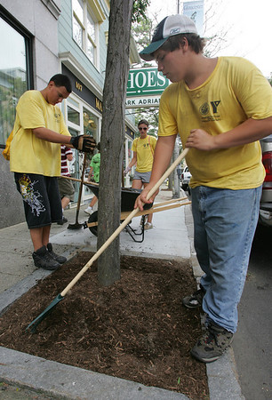 Gloucester: Jonathan Moulton spreads mulch around the base of a tree on Main Street as Dietrich Williams, left, and Grace Norton, center, add fresh mulch from the wheelbarrow. The three are part of the YMCA's Clean Team, which has been maintaining downtown Gloucester all summer. Later in the day, the kids were treated to lunch courtesy of the Chamber of Commerce and the Mayor's Office. Photo by Kate Glass/Gloucester Daily Times Tuesday, August 11, 2009
