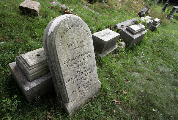 Gloucester: More gravestones were vandalized at Oak Grove Cemetery over the weekend, but no arrests have been made. Photo by Kate Glass/Gloucester Daily Times