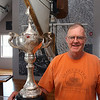 Gloucester: Geoffrey Richon, board president of the Maritime Heritage Center, recently purchased a trophy won by the Gloucester Schooner Gertrude L. Thebaud. The trophy will be displayed at the museum. Photo by Kate Glass/Gloucester Daily Times Tuesday, August 18, 2009