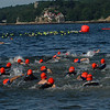 Hundreds of competitors hit the water for the 1st Gloucester Triathlon held Sunday morning on Pavilion Beach. Photo by Desi Smith/Gloucester Daily Times