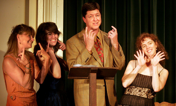 """Gloucester: Deborah Michel, Patrice Kelly, Will Rousmaniere, and Seania McCarthy perform """"You're Never Fully Dressed Without a Smile."""" The Annisquam Village Players will be performing """"Annie"""" Tuesday through Sunday at the Annisquam Village Hall. Photo by Kate Glass/Gloucester Daily Times"""