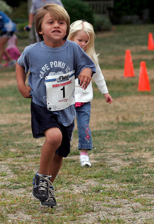 Gloucester: Emerson Marshall of Gloucester leads the way during the four and under kids race at Stage Fort Park following Run Gloucester! yesterday morning. Photo by Kate Glass/Gloucester Daily Times