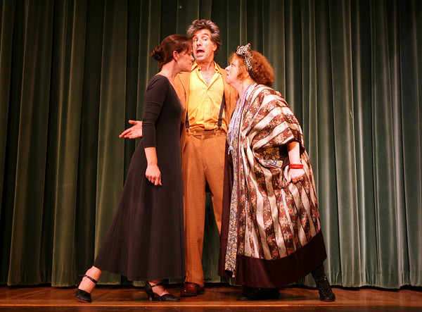 "Gloucester: Victoria Fortune, Rick Gadbois, and Jennifer-Lee Levitz rehearse a scene from the Annisquam Village Players performance of ""Annie,"" which runs Tuesday through Sunday at the Annisquam Village Hall. Photo by Kate Glass/Gloucester Daily Times"