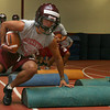 Gloucester: Brandon Cusumano runs through drills during the first day of football practice at Gloucester High School. Photo by Kate Glass/Gloucester Daily Times