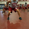 Gloucester: Gloucester senior Chris Unis works on drills with the linemen during the first day of practice in the Benjamin A. Smith Fieldhouse yesterday afternoon. Photo by Kate Glass/Gloucester Daily Times