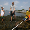 Gloucester: David Anderson of Belmont, Brendan Wylie of the New England Aquarium, and Sam Walkes of Newton measure off quadrants near the Eastern Point Lighthouse afternoon. The kids, who are attending camp at the New England Aquarium, were collecting marine science data from different tidal zones. Photo by Kate Glass/Gloucester Daily Times