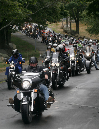 Gloucester: Hundreds of motorcyclists head out from Stage Fort Park yesterday afternoon for Nelson's Ride, a motorcycle ride through Gloucester, Essex, Ipswich, Hamilton and Manchester in memory of Nelson Selig, who was killed in a motorcycle accident in May 2000. Photo by Kate Glass/Gloucester Daily Times
