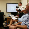 Manchester: Glenn McKiel, Manchester Chief of Police and Harbormaster, begins his presentation on Manchester Harbor during the selectmen's meeting at Town Hall last night. Photo by Kate Glass