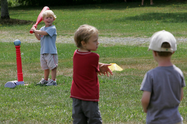 Manchester: Cole Riehl, 3, gets ready to bat while playing a game of t-ball during Sports Squirts, a one week program offered by the Manchetser Parks and Recreation Department to help introduce sports to younger kids at Masconomo Park Thursday morning. Mary Muckenhoupt/Gloucester Daily Times