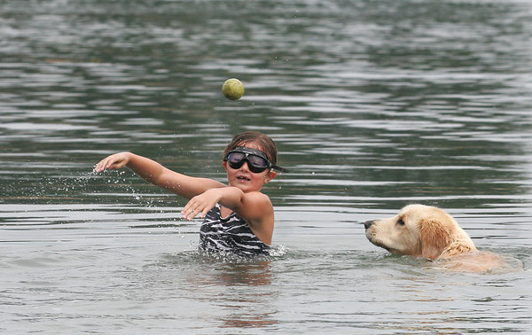 Manchester: Jenna Cirella, 8, throws a tennis ball for her dog, Frisco, while swimming at Black Beach on Tuesday afternoon. Frisco has hip dysplasia so swimming is a good way for him to get exercise. Photo by Kate Glass/Gloucester Daily Times