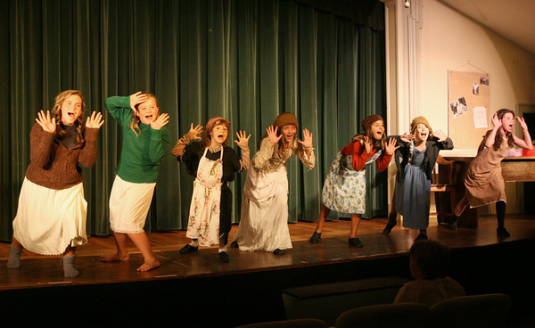 "Gloucester: The orphans sing ""You're Never Fully Dressed Without a Smile."" The Annisquam Village Players will be performing ""Annie"" Tuesday through Sunday at the Annisquam Village Hall. Photo by Kate Glass/Gloucester Daily Times"
