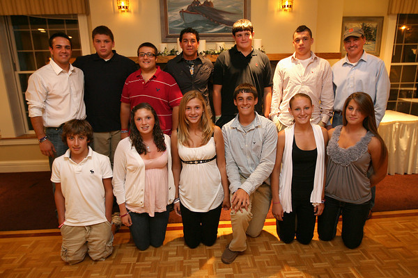 Gloucester: The JJ Nicastro Foundation presented 10 Gloucester students with an athletic scholarship during an awards ceremony at the Gloucester House on Tuesday night. The foundation received 50 applicants for the scholarship, which pays for the athletes' user fees throughout high school. The foundation now supports 30 Gloucester athletes at an average cost of $1,000 per athlete each year. Pictured are (front row left to right): Matthew Lane, Hayley Davis, Hannah Ellis, Jason Vizena, Hannah Cain, and Darien Foley. Back row left to right: Marc Nicastro, Drew Shairs, KC Verga, John John Nicastro, Tyler Ingersoll, Jordan Shairs, and Steve Cote. Photo by Kate Glass/Gloucester Daily Times