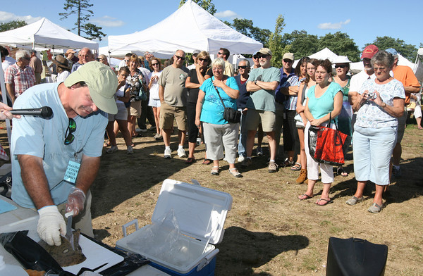 Steve Parkes from Cape Ann Fresh Catch demonstrates how to debone a skate wing at the Cape Ann Farmer's Market on Thursday. Skate wings were the surprise ingredient in the seafood throwdown. Photo by Kate Glass/Gloucester Daily Times