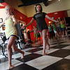 "Lily Armstrong and Lainy Turner practice walking like different types of birds as they rehearse for Richard Vetere's play, ""Bird Brain,"" during the Gloucester Stage Youth Acting Workshops with Heidi Dallin. The students will perform for friends and family this Friday. Photo by Kate Glass/Gloucester Daily Times"