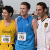 Gloucester:  The top three Run Gloucester 7 mile men's finishers from left to right, are Alex White of Summerville,Ma  Jacob Barnett of Medford,Ma and Nick Desouza of Salem,Ma   Desi Smith /Gloucester Daily Times. August 21,2011