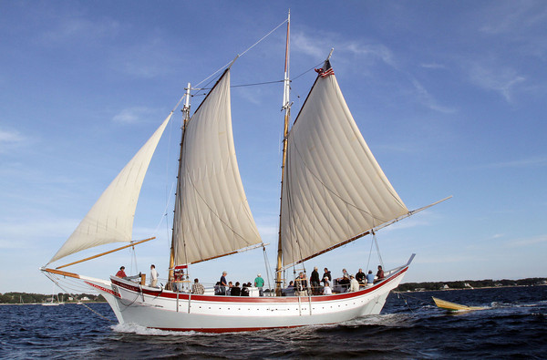 David Le/Gloucester Daily Times. The Schooner Ardelle sails towards Maritime Gloucester on Wednesday evening after making an all day trip from Essex. 8/24/11.