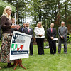 David Le/Gloucester Daily Times. Stephanie East, who is the owner of the 10, 000th home being weatherized under the American Recovery and Reinvestment Act, speaks to a small crowd gathered outside her house, including local and state politicians. 8/16/11.